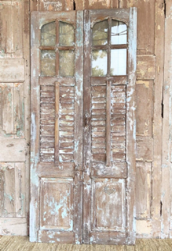 Colonial Plantation Doors with Vintage Glass, South India circa 1900 <b>sold<b>